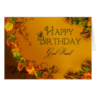 BIRTHDAY - GOOD FRIEND - AUTMN LEAVES CARD