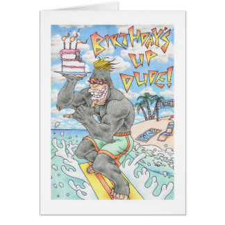 Birthday Gorilla Surfer Card
