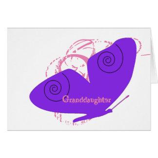 Birthday, granddaughter, big, purple butterfly. card