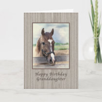 Birthday, Granddaughter, Brown Horse with Bridle Card