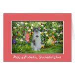 Birthday, Granddaughter, Cat Among The Flowers Card