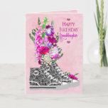 """Birthday, Granddaughter,  Sneakers black/White Card<br><div class=""""desc"""">Feminine birthday greeting any teen girl would love.  See assortment of ages and also invitations for 13th and sweet sixteenth parties.</div>"""
