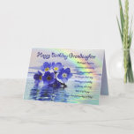 """Birthday granddaughter with forget me nots card<br><div class=""""desc"""">Beautiful blue forget-me-nots cast adrift on a lake with a rainbow behind. A beautiful verse completes this unique card perfectly.</div>"""