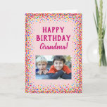 """Birthday Grandma Grandmother Fun Colorful Photo Card<br><div class=""""desc"""">For Grandma's birthday this year,  give her this fun colorful confetti card from the grandkids!  Personalize with your own photo. The message inside,  including the font and color of the text,  are also fully customizable.</div>"""
