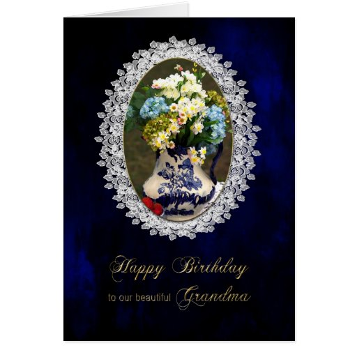 BIRTHDAY - GRANDMA - VINTAGE LACE AND FLOWERS GREETING CARD