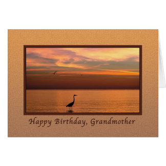 Birthday,  Grandmother, Ocean View at Sunset Card