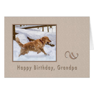 Birthday, Grandpa, Golden Retriever Dog Card
