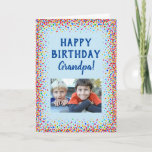 """Birthday Grandpa Grandfather Fun Colorful Photo Card<br><div class=""""desc"""">For Grandpa's birthday this year,  give him this fun colorful confetti card from the grandkids!  Personalize with your own photo. The message inside,  including the font and color of the text,  are also fully customizable.</div>"""