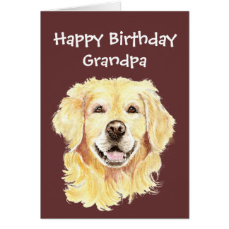 Birthday Grandpa Watercolor Golden Retriever Dog Card