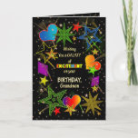 """Birthday, GRANDSON, Abstract Galaxy, Colorful Card<br><div class=""""desc"""">Fun and very bright Birthday greeting in colorful vivid colors.   Abstract galaxy and/or universe filled with stars,  shooting stars and even hearts.  See same image in other categories and products.</div>"""