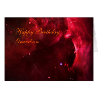 Birthday Grandson, Sculpted Region of Orion Nebula Card