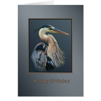 Birthday, Great Blue Heron Bird in Silver and Gray Card