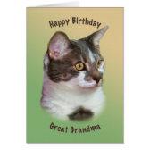 Birthday, Great Grandma, Golden-eyed Cat, Card