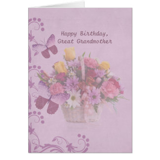 Birthday, Great Grandmother, Basket of Flowers Card