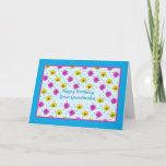 """Birthday, Great Grandmother, Daisies Card<br><div class=""""desc"""">Pink and yellow daisies along with falling rain drops make this a very colorful floral birthday card for a great grandmother.   The inside verse is a text template and is easily customized.</div>"""