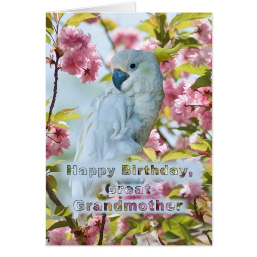 Birthday, Great Grandmother, White Parrot in Crab Greeting Card