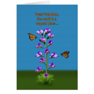 Birthday, Great Grandson, Flowers and Butterflies Card