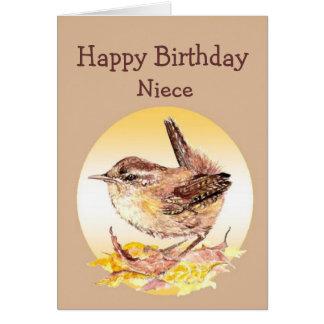 Birthday Great Niece Watercolor Wren Bird Card