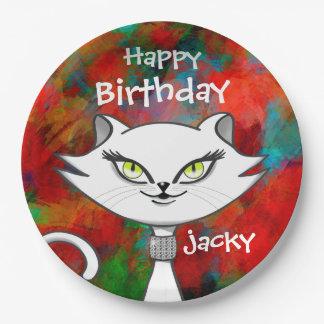 Birthday green eyes bling cat. Artsy background Paper Plate