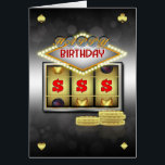 """Birthday Greeting Card Casino Theme With Slots And<br><div class=""""desc"""">Great For those who love a flutter weather it&#39;s on the slot machines (fruit machines / one arm bandit) or just that stylish casino look</div>"""