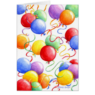 Birthday Greeting Card Colorful Balloons
