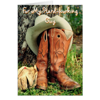 Birthday Greeting Card: Cowboy Hat and Boots Greeting Card