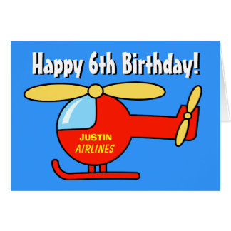 Birthday greeting card for boys | Toy helicopter Card