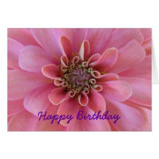 Birthday greeting card, pink zinnia card