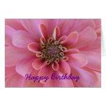 Birthday greeting card, pink zinnia greeting card