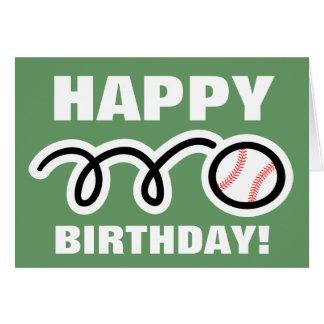 Birthday greeting card with baseball design