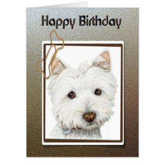 Birthday Greeting Card with Westie Dog Art