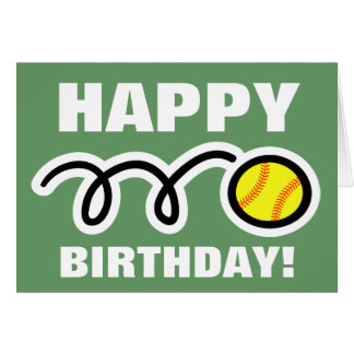 Birthday greeting card with yellow softball design