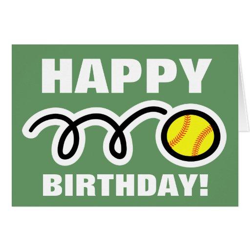 Birthday greeting card with yellow softball design | Zazzle