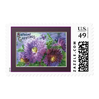 BIRTHDAY GREETING FLOWERS by SHARON SHARPE Postage