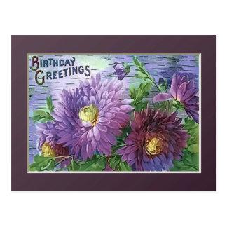 BIRTHDAY GREETING FLOWERS by SHARON SHARPE Postcard