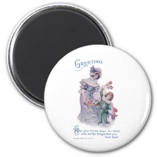 Birthday Greeting from Woman & Boy 2 Inch Round Magnet