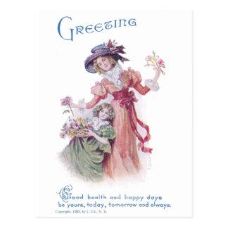 Birthday Greeting from Woman & Girl Postcard