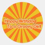 Birthday Greeting Retro style Round Sticker