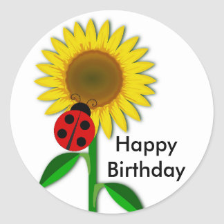 Birthday Greeting Round Sunflower Sticker, Glossy Classic Round Sticker