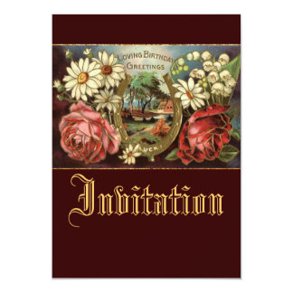 Birthday Greeting With Roses 5x7 Paper Invitation Card