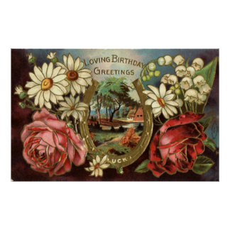 Birthday Greeting With Roses Poster