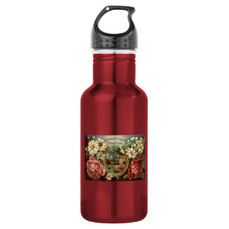 Birthday Greeting With Roses Stainless Steel Water Bottle
