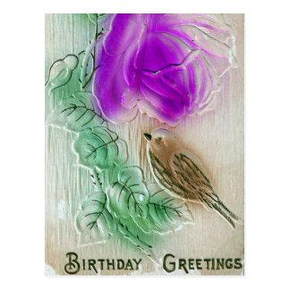 Birthday Greetings Bird and Flower Postcard