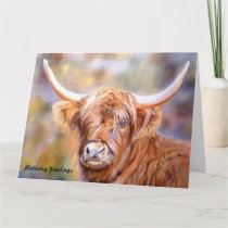 Birthday Greetings Card with Scottish Highland Cow