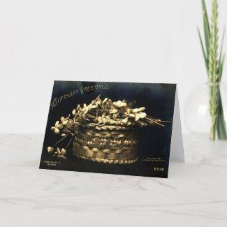 Birthday Greetings Flowers in a Basket, 1906 Vinta card