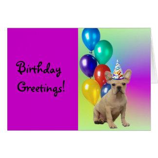 Birthday Greetings French Bulldog greeting card