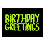 Birthday Greetings. Green and Black. Custom Business Card Templates