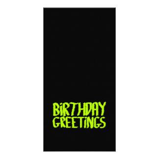 Birthday Greetings. Green and Black. Custom Card