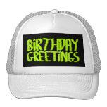Birthday Greetings. Green and Black. Custom Hat