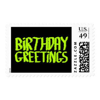 Birthday Greetings. Green and Black. Custom Postage